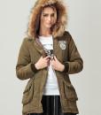 Wool Collars Cotton-padded Pockets Jacket Coat