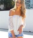 Zanzea Fashion Women Sexy White Lace Off Shoulder Blouse