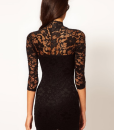Lace V-Neck 3/4 Sleeve Dress