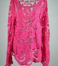 Openwork Embroidery Pattern Loose Fit Long Sleeve Lace Blousev