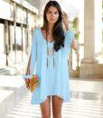Stylish V-Neck Long Sleeve Loose-Fitting White Chiffon Dress