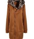 Leopard Hooded Zipper Coat