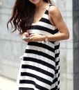 Stylish Scoop Neck Sleeveless Striped Loose-Fitting Dress