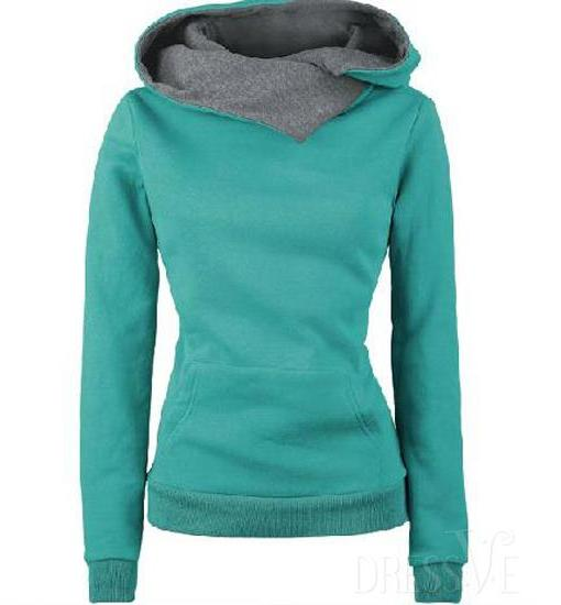 Loose-Fitting Solid Color Casual Style Long Sleeve Women's Hoodie