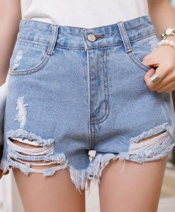 Stylish High-Waisted Hole Design Bleach Wash Slimming Denim Shorts For Women