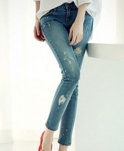 Stylish Mid-Waisted Hole Design Slimming Jeans For Women