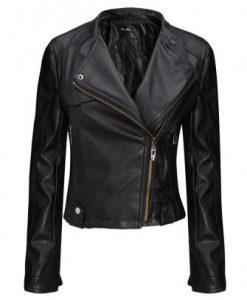 Cool-Black Zipper PU Leather Bomber Jacket
