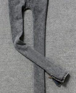 Charmming Bottom Zipper Design Slimming Fit Narrow Feet Jeans for Women