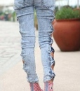 Side Bow Cutout Ripped Sexy Denim Jeans