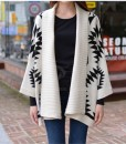 Morden Style Loose-Fitting Roman Geometric Pattern Batwing Sleeve Knitting Sweater For Women