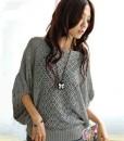 Women Batwing Small Rhombic Hole Sweater