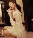 Elegant Batwing Short Sleeve White Chiffon