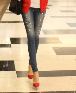 Diamonds Broken Hole Slimming Fashionable Style Straight Leg Jeans For Women