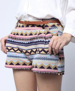 Vintage Retro Geometric Linen Short Pants