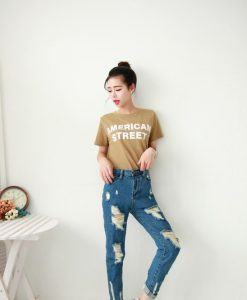 Casual Solid Color Hole Denim Jeans For Women