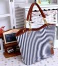 Vertical Stripe Tassel Shoulder Handbag