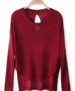Hollow Out Irregular Hem Long Sleeve Knit Sweater