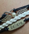 Pearl and Wing Embellished Multi-Layered Strand Bracelet For Women
