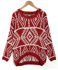 Diamond Pattern O-Neck Long Sleeve Pullover Sweater