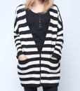 Raglan Sleeve Black White Stripe Cardigan
