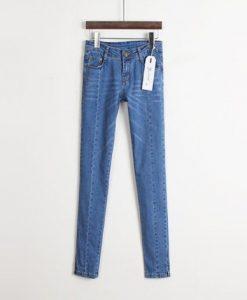 Slit Side Design Narrow Feet Solid Color Stitching Embellished Jeans For Women