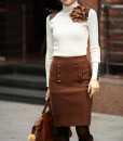 Turtle Neck Bead Splicing Solid Color Long Sleeve Sweater