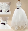 Elegant White Bridal Lace Strapless Long Maxi Formal Wedding Dress