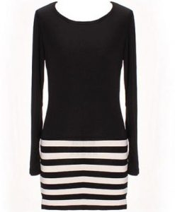 Long Sleeve T-shirt Striped Dress