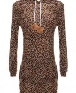 Hooded Leopard Print Long Sleeve Sweater