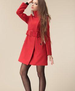Tailored Collar Zipper Button Woolen Coat
