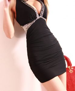 V-Neck Bead Halter Backless Dress