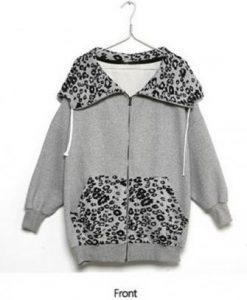 Leopard Print Long Sleeve Zip Up Coat Outwear