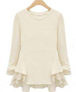 Slim Women Chiffon Wave Hem Shirts Ladies Long Sleeve Blouse