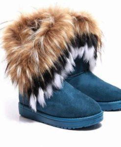 Artificial Fox Rabbit Fur Winter Snow Ankle Boots
