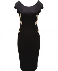 Backless Bandage Knee Length Black Bodycon Dress