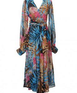 Casual Hot Floral Chiffon Deep V Neck Long Sleeve Maxi Party Dress