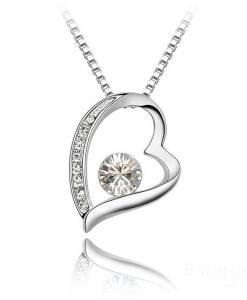 Rhinestone Crystal Heart Shaped Pendant Necklace Women Jewelry