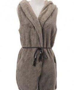 Casual Fleece Sleeveless Hooded Sweater Vest With Belt