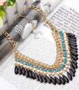 Drop Beads Tassel Choker Necklace