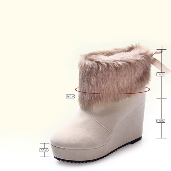 platform wedge heel butterfly knot ankle snow boots gonchas