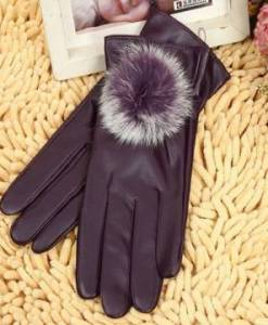 Women's PU Leather Thermal Gloves