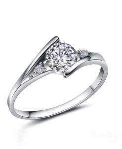 Silver Austria Crystal Finger Ring