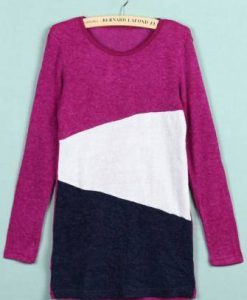 Multicolor Crew Neck Long Sleeve Womens Knitted Sweater Jumper Knitwear