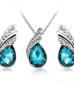 Crystal Water Drop Necklace Earrings Jewelry Set Silver Plated Jewelery