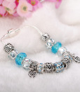 Murano Glass Beads Crystal Bracelet 925 Silver Plated