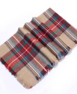Colorful Plaid Tassel Hem Soft Wrap Scarf