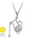 Sterling Sliver Crystal Pendant Necklace