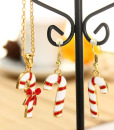 Christmas Tree Santa Claus Enamel Jewelry Set Necklace Earrings