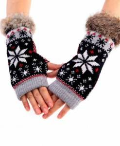 Rabbit Fur Wool Knitted Gloves