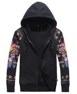 Casual Sweatshirts Jacket Printed Zip-Up Hoodie